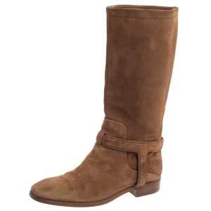 حذاء بوت ديور سويدي بني بطول الركبة مقاس 37