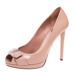 Dior Beige Patent Leather Peep Toe Platform Pumps Size 40
