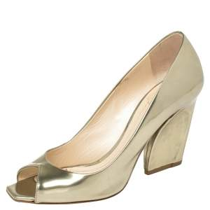 Dior Metallic Gold Leather Peep Toe Pumps  Size 39