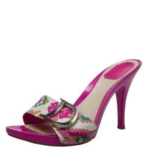 Dior Multicolor Canvas Logo Detail Sandals Size 41