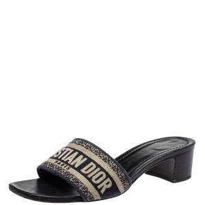 Dior Navy Blue Canvas D-way Slide Sandals Size 38