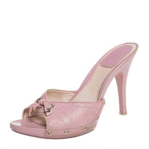 Dior Pink Cannage Leather Bow Slides Size 37.5