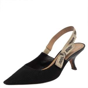 Dior Black Leather And Canvas Slingback  J'Adior  Pumps Size 41