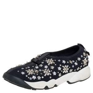 Dior Black Mesh Fusion Embellished Sneaker Size 38