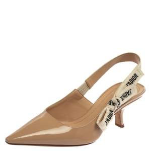 Dior Nude Beige Patent Leather  J'Adior Slingback Pumps Size 37