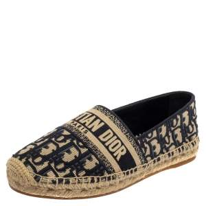 Dior Dark Blue/Beige Oblique Embroidered Cotton Fabric Granville Espadrille Flats Size 38