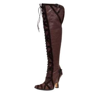 Dior Brown Leather And Suede Over The Knee Boots Size 37.5