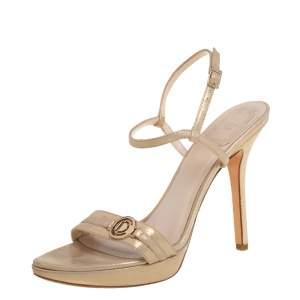 Dior Metallic Gold Fabric Platform Sandals Size 36.5