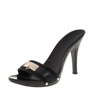 Dior Black Leather And Canvas Logo Mules Size 36