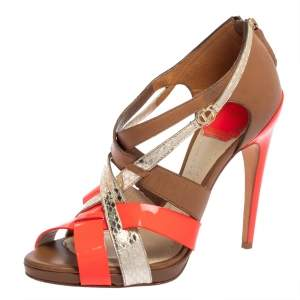 Dior Multicolor Patent Leather And Leather Strappy Sandals Size 37.5