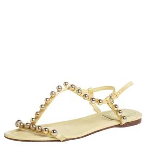 Dior Yellow Leather And Satin Pearl Embellishment T Strap Flats Size 37