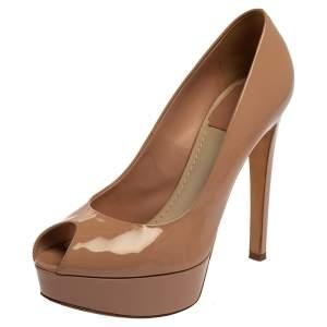 Christian Dior Beige Patent Leather Peep Toe Platform Pumps Size 38
