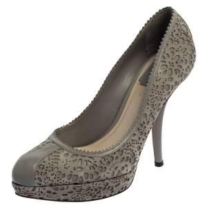 Dior Grey Leather And Laser Cut Suede Dior Byz Platform Pumps Size 38