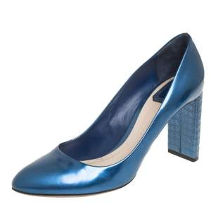 Dior Metallic Blue Leather Microcannage Block Heel Pumps Size 40