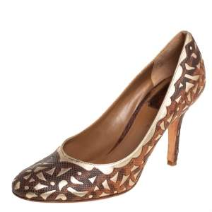 Dior Two Tone Laser Cut Karung And Gold Leather Round Toe Pumps Size 38