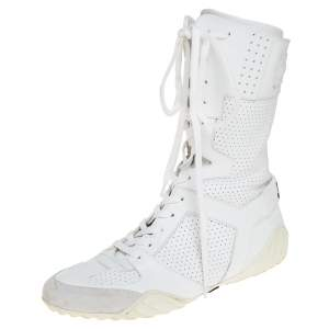 Dior White Perforated Leather Ankle Length Sneaker Boots Size 40
