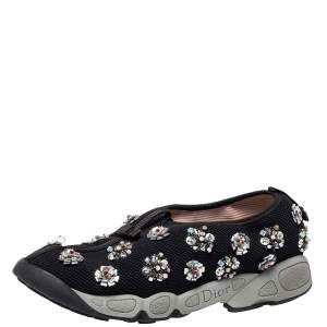 Dior Black Mesh Fusion Floral Embellished Slip On Sneakers Size 40