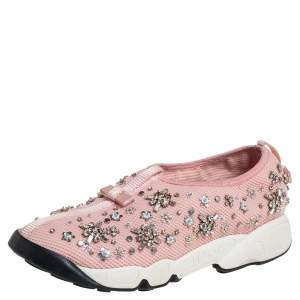 Dior Pink Mesh Floral Embellished Fusion Slip On Sneakers Size 37