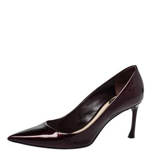 Dior Brown Patent Leather Pointed Toe Pumps Size 36.5