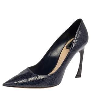 حذاء كعب عالى ديور مقدمة مدببة سونغ جلد أزرق مقاس 40