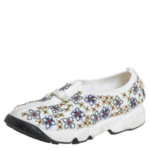 Dior White Mesh Embellished Fusion Slip On Sneakers Size 38.5
