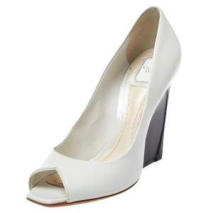 Dior Off White Patent Leather Eclipse Peep Toe Pumps Size 39.5