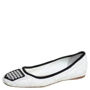 Dior White Leather Ballerina Flats Size 36.5