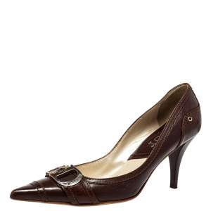 Dior Vintage Brown Leather D Buckle Pumps Size 38