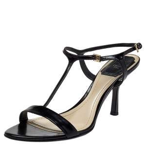 Dior Black Leather T-Strap Sandals Size 37.5