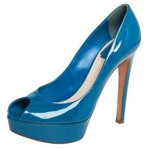 Dior Blue Patent Leather Miss Dior Peep Toe Platform Pumps Size 37.5