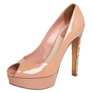 Dior Beige Patent Leather Platform Peep Toe Pumps Size 37