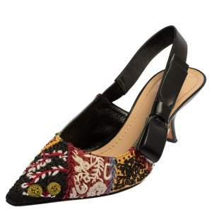 Dior Multicolor Embroidered Fabric Peace And Love Pointed Toe Slingback Sandals Size 38.5
