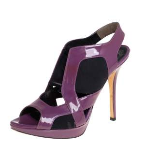 Dior Purple Patent Leather Slingback Sandals Size 38