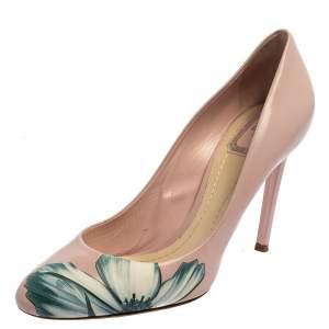 حذاء كعب عالى ديور مقدمة مستديرة طباعة زهور جلد وردى مقاس 40.5