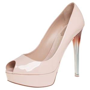 Dior Beige Patent Leather Miss Dior Peep Toe Platform Pumps Size 38