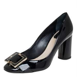 Dior Black Leather Buckle Detail Block Heel Pumps Size 38.5