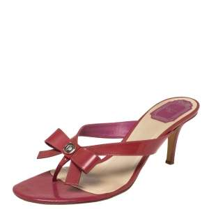 Dior Red Patent Leather Bow Sandals Size 38.5