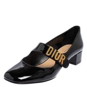 حذاء كعب عالي ديور بيبي دي ماري جين جلد أسود لامع مقاس 35.5