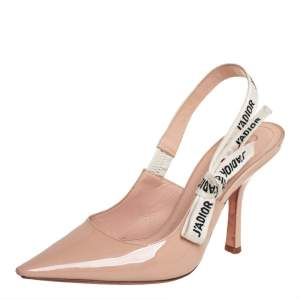 Dior Nude Patent Leather J'Adior Slingback Pumps Size 37