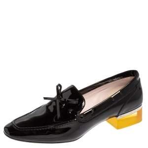 Dior Grey Patent Leather Bow Embellished Lucite Block Heel Loafer Pumps Size 39.5