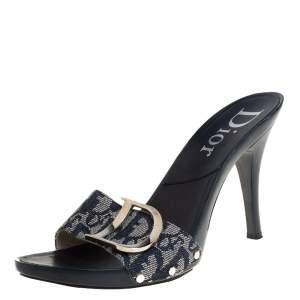 Dior Blue Canvas Logo Detail Slide Sandals Size 40