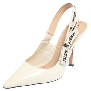 Dior Off-White Patent Leather J'Adior Slingback Pumps Size 40