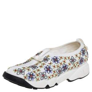 Dior White Mesh Embellished Fusion Slip On Sneakers Size 38