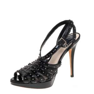 Dior Black Patent Leather Studded Strappy Slingback Sandals Size 37.5
