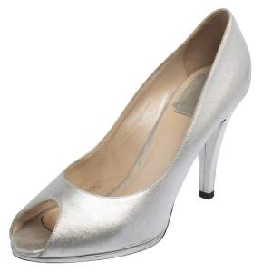 Dior Silver Leather Peep Toe Pumps Size 37