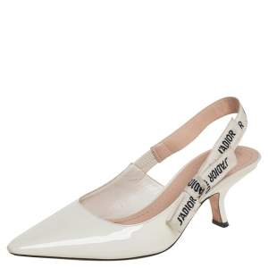 Dior White Patent Leather J'Adior Slingback Pumps Size 39