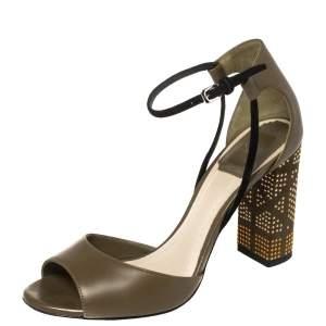 Dior Olive Green Leather Rainbow Stellar Block Heel Ankle Strap Sandals Size 36