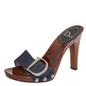 Dior Blue Denim Wooden Clog Slide Sandals Size 35.5