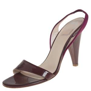 Dior Burgundy Patent Leather and Velvet Open Toe Slingback Sandals Size 38