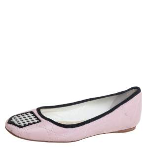 Dior Pink Cannage Leather And Fabric Ballet Flats Size 38.5